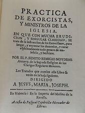 2002 PRACTICA de EXORCISTAS y MINISTROS de la IGLESIA Facsimile 1711 Ed. SPANISH