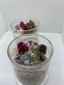 Peace/Lavender & Rose Intention Candle/Soy wax Candle/Herb and Crystal Candle/