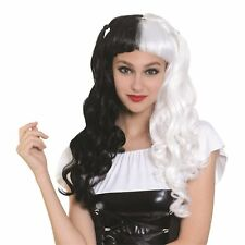 Long Wig Black & White Bunches Pigtails Halloween Ladies Fancy Dress Costume