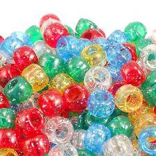 6x8mm Plastic Pony Beads 50 Colours x 100 Beads