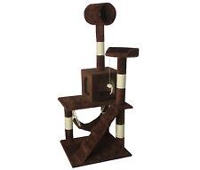 "New Brown 55"" Cat Tree Tower Condo Scratcher Furniture Kitten House Hammock 90"