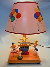 Vintage 1978 Wooden Child's Room Nursery Circus Lamp, Musical -- Works Great!
