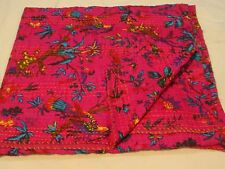 Cotton Twin Handmade Indian Kantha Suzani Blanket Quilt-Throw Vintage-Bed-Cover