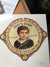 """1920's 12"""" Grays Cough & Cold Syrup Sign Henry Watson & Co Montreal Quebec"""