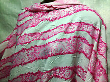Flocked Silky Pink Patterned Strips  On Crushed White Polyester Designer Fabric
