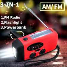 Emergency Solar Hand Crank Weather Radio Power Bank Charger Flash Light Torch US