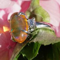 Edelopal Diamant Ring in 900er Platin
