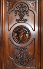 French Antique Deep Carved Architectural Panel Door Solid Walnut Wood Man Face