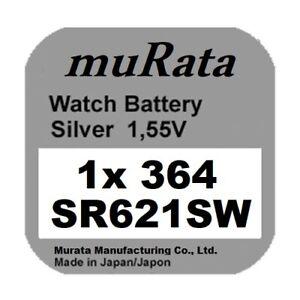 1x Murata/Sony 364 Uhren-Batterie Knopfzelle SR621SW SR621 AG1  Neu Silberoxid