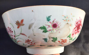 A FINE LARGE ANTIQUE CHINESE PORCELAIN FAMILLE ROSE BOWL 18th C