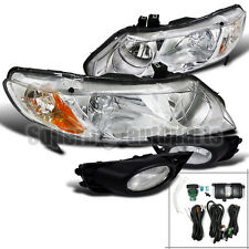 For 2009-2011 Honda Civic 4D Headlights Clear+Bumper Fog Lights Lamps Chrome