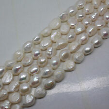 1 strand 9-10mm white color nature rice freshwater pearl loose stone bead 14''
