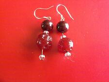 Vintage Deep Red Glass Earrings