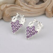 925 Silver plated Jewelry Purple Crystal Grape Stud Earrings For Women