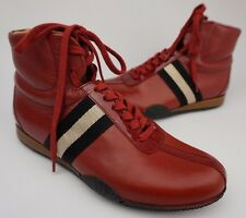 Bally Frendy High-Top Red Men's Leather Sneakers Shoes Size 7 D