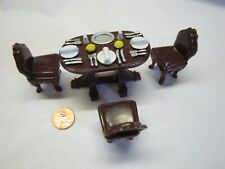 FISHER PRICE Sweet Streets Dollhouse BROWN TABLE & CHAIRS LOT for TOWNHOUSE Rare