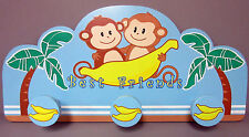 New Monkey Best Friends Wood Wall Rack Monkies Banana Bananas For Towels Caps