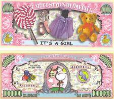 "It's A Girl ""One Million"" Dollar Bill $1,000,000"