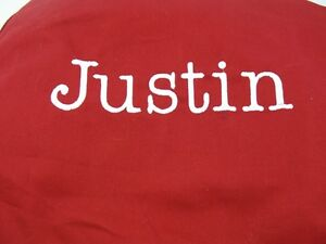 Pottery Barn Kids Red Anywhere Bean Bag Slipcover with name JUSTIN New