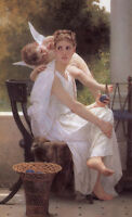 Beautiful Oil painting Bouguereau - Work Interrupted Venus with little boy cupid