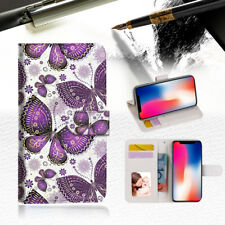 Purple Butterfly Wallet TPU Case Cover For Apple iPhone X-- A017