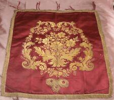 Bannière de procession XVIII / XIX ème en soie rouge tissée au fil doré - Fleurs