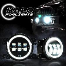 White Halo LED Fog Lights For 07-17 Jeep Wrangler JK Front Bumper Lamp 0547941