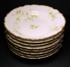 BAWO AND DOTTER Elite LIMOGES BWD456 Set of 8 Berry Bowls Green Floral Gold