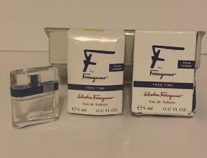 F by Ferragamo 0.17 oz / 5 ml EDT splash mini Pour Homme New In Box 2pcs Spe
