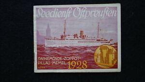 1928 Fahrplan Ostpreußen Eisenbahn + Motorschiff Swinemünde Zoppot Memel Pillau