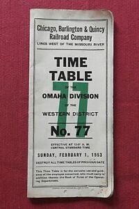 1953 CG & Q CHICAGO BURLINGTON & QUINCY RAILROAD OMAHA DIVISION #77 TIME TABLE
