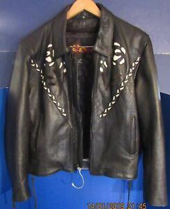Joeta's Genuine  Leather Designer  Biker Jacket With Snap Zipper Belt Chaps M XS