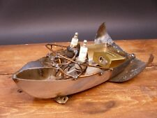 Speed Boat Metal Spark Plug Sculpture by Dick Cooley Art Handmade
