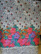"Vintage Sewing Fabric Cranston Black White Pink Blue Modern Floral 5.1ydsx60"""