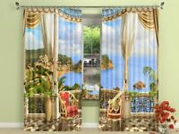 3D Terrace Sea 79 Blockout Photo Curtain Print Curtains Drapes Fabric Window AU