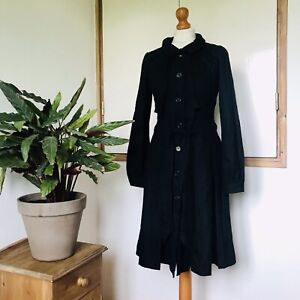 Vtg 90s Black Pure Wool Fitted Tie Belt Collar Fitted Flared Dress 10