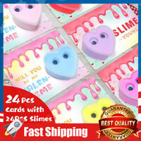 24 Pack Slime Valentines Day Cards for Kids Party Favors Classroom Exchange