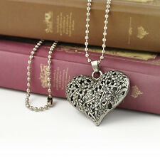 Korean Hollow Carved Heart Pendant Charm Womens long sweater chain necklace Gift