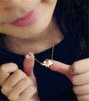 Women Fashion Gold Plated Elephant Pendant Necklace Rhinestone Chain Jewelry