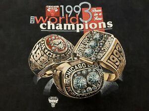 VTG 90s 1993 NBA Chicago Bulls 3 In A Row World Champions Rings T Shirt XXXL ??