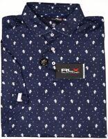 RLX Polo Ralph Lauren Navy Blue Lions Short Sleeve Wicking Shirt UPF 35+ NEW $98