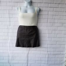 Express World Brand Chocolate Brown 100% Leather Mini Skirt Textured Size 9/10