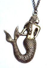 BRONZE MERMAID PENDANT antiqued gold-tone brass necklace chain pirate siren M3