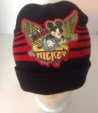 Disney Mickey Mouse Black Beanie Sz M/L Born to Rock Winter Hat Striped Ski Snow