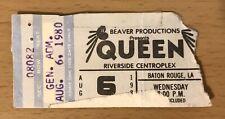 1980 Queen The Game Tour Baton Rouge La Concert Ticket Stub Freddie Mercury 082