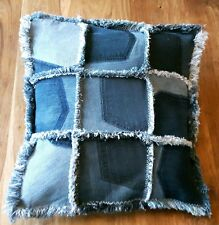 Patchwork Denim Cushion Cover, Handmade Shabby Chic Pillow Cover, Jeans Pockets
