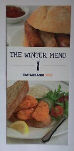 EAST MIDLANDS TRAINS WINTER MENU First Class Restaurant Car Dining Railway Food