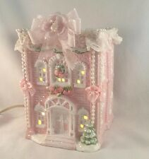 PINK CHRISTMAS VILLAGE HOUSE Light Up YI CHEING 1993 Shabby Chic GLITTER Bows