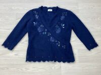 KALIKO Blue Sequin Angora Blend Wool Top Fits 12 *please read*