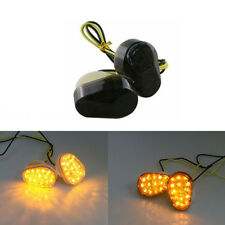 Motorcycle Flush Mount LED Turn Signal Yellow Blinker Light Smoked For Kawasaki